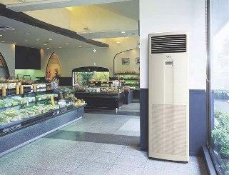 Устройство климатического контроля колонного типа в зале торгового центра